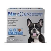 Antipulgas e Anticarrapatos NexGard para Cães de 4,1 a 10 Kg - 3 Tabletes - Merial