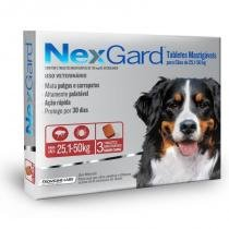 Antipulgas e carrapatos nexgard 136mg para caes de 25,1 a 50kg (3 tabletes) - merial -