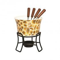Aparelho de fondue em cerâmica com 6 peças - Colorido - Mart presentes