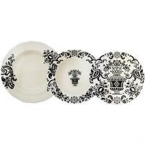 Aparelho de Jantar 18 Peças L?Hermitage - Porcelana Redondo Branco Gastro