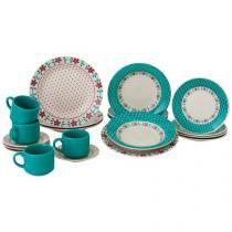 Aparelho de Jantar 20 Peças Biona Cerâmica - Redondo Colorido Donna