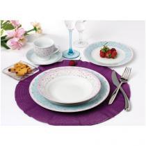 Aparelho de Jantar 30 Peças Casambiente Porcelana  - Redondo Estampado Garden