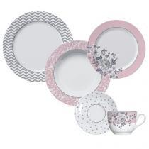 Aparelho de Jantar 30 Peças Germer Porcelana - Redondo Estampado Paris