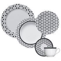 Aparelho de Jantar 30 Peças Germer Porcelana - Redondo Preto e Branco Trama