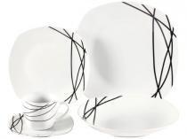 Aparelho de Jantar 30 Peças World Collection - Quadrado Branco e Preto Porcelana Julia