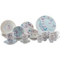 Aparelho de Jantar 42 Peças Casambiente Porcelana - Redondo Azul Butterfly