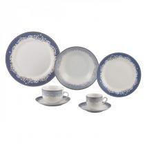 Aparelho de Jantar 42 Peças Porcelana Cedro Wolff Rojemac Branco/Azul -