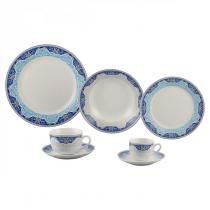 Aparelho de Jantar 42 Peças Porcelana Perca Wolff Rojemac Branco/Azul -
