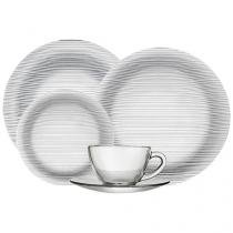 Aparelho de Jantar Chá 20 Peças Duralex - Vidro Redondo Transparente Diamante
