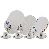 Aparelho de Jantar Chá 20 Peças Lyor Porcelana - Redondo Branco Butterflies