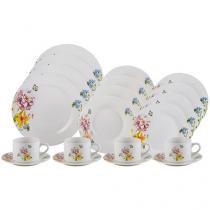 Aparelho de Jantar Chá 20 Peças Lyor Porcelana - Redondo Branco Summer