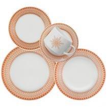 Aparelho de Jantar Chá 30 Peças Biona Cerâmica - Redondo Branco e Laranja Donna Aurora