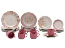 Aparelho de Jantar Chá 30 Peças Biona - Cerâmica Redondo Rosa Donna AE30-5160