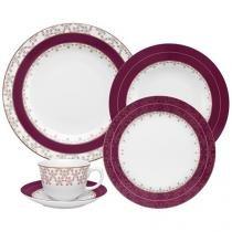 Aparelho de Jantar Chá 30 Peças Oxford - Porcelana Redondo Estampado Flamingo Dama de Honra
