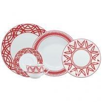 Aparelho de Jantar Chá 30 Peças Schmidt - Porcelana Redondo Colorido Helena