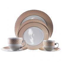 Aparelho de Jantar Chá Café 42 Peças Casambiente - Porcelana Redondo Branco e Rosa Audrey APJA019