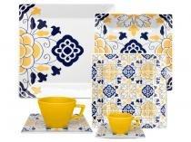 Aparelho de Jantar Chá Café 42 Peças Oxford - Porcelana Quadrado Estampado Quartier Sevilha
