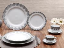 Aparelho de Jantar Chá Café 42 Peças Schmidt - Porcelana Redondo Branco Prática Voyage Taís