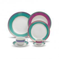 Aparelho de jantar, chá e café com 42 peças flamingo jóia brasileira - Oxford