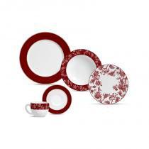 Aparelho de jantar com 20 peças flat piemonte red band - Colorido - Porto brasil