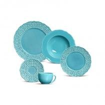 Aparelho de jantar com 20 peças marrakech azul poppy - Azul - Porto brasil