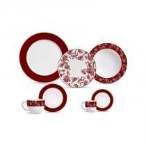 Aparelho de jantar com 42 peças flat piemonte red band - Porto brasil