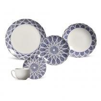 Aparelho de jantar coup mosquée blue porto brasil cerâmica 30 peças -