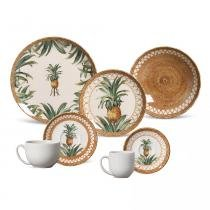 Aparelho de jantar coup pineapple natural porto brasil cerâmica 42 peças -