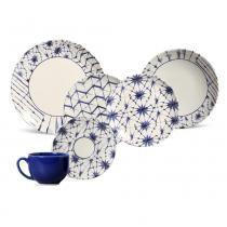 Aparelho de jantar coup shibori porto brasil cerâmica 30 peças -