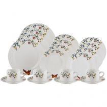 Aparelho de Jantar e Chá 20 Peças Lyor Porcelana - Redondo Branco Delicate