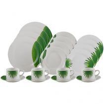 Aparelho de Jantar e Chá 20 Peças Lyor Porcelana - Redondo Branco Leaves