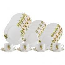 Aparelho de Jantar e Chá 20 Peças Lyor Porcelana - Redondo Branco Tropicalis