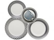 Aparelho de Jantar e Chá 30 Peças Biona Cerâmica  - Redondo Branco e Cinza Actual Rendeira