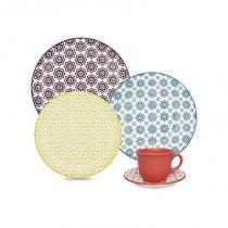 Aparelho de jantar e chá com 20 peças floreal thai - Colorido - Oxford
