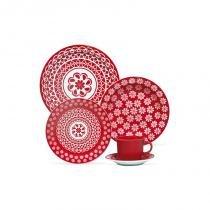 Aparelho de jantar e chá com 20 peças renda - Branco e Vermelho - Oxford