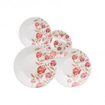 Aparelho de jantar e chá com 30 peças vermelho amor - Vermelho - Oxford