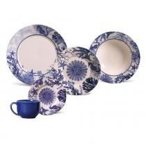 Aparelho de jantar mônaco coral blue porto brasil cerâmica 30 peças -