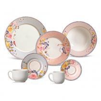 Aparelho de jantar mônaco retrô rose porto brasil cerâmica 42 peças -