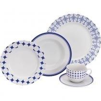Aparelho de Jantar  Porcelana 20pçs Azul Desenhado - Etilux