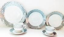 Aparelho de Jantar Royal Castle Chá Café 42 Peças Porcelana Estampa Preta - Royal0001 - Casambiente