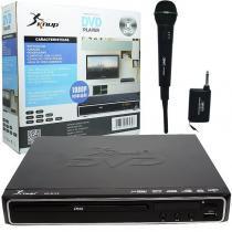 Aparelho Dvd Player Hdmi Hd 5.1 Rca Mp3 Função Karaoke Microfone Sem Fio Knup KP-D112 Preto Bivolt -