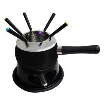 Aparelho para fondue em aço esmaltado preto -11 peças - Sem-marca