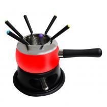 Aparelho para fondue em aço esmaltado vermelho -11 peças - Sem-marca