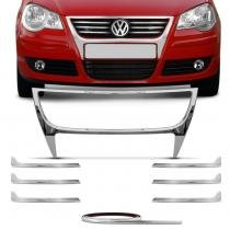Aplique Cromado Grade Dianteira Para-Choque Polo Hatch Sedan 2007 a 2011 Plástico Resistente Autech