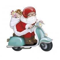 Aplique Decoupage em Papel e MDF Papai Noel de Lambreta APMN8-081 - Litoarte Litoarte