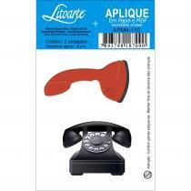 Aplique mdf e papel litoarte 4 cm - modelo apm4- 110 telefones -