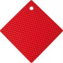 Apoio descanso de panela quadrado em silicone - vermelho - Mor