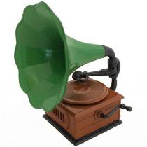 Apontador Retrô Miniatura Gramofone Verde - Versare anos dourados