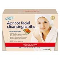 Apricot Facial Cleansing Cloths Purederm - Lenço de Limpeza Facial - 12 Unidades - Purederm