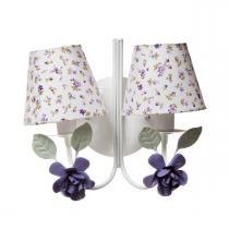 Arandela 2 Lâmpadas Flores Grandes Lilás Quarto Bebê Infantil Menina - Potinho de Mel